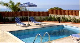 Saint Ilarion Villas - luxury villas for rent in Pafos, Cuprus. Wonderful views, Swimming pool, BBQ, fully equipped kitchen. Next to the beautiful city of Pafos, looking out over the mountains towards the sea.